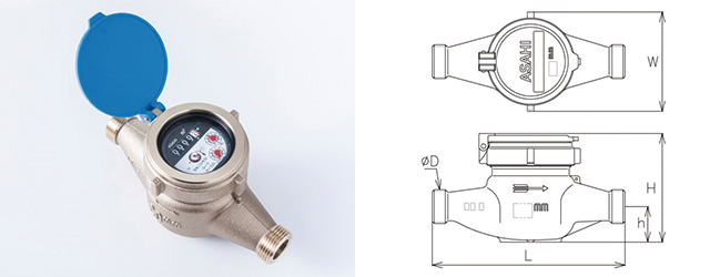 ASAHI AKRseries  接線流羽根車乾式水道メーター AKR(L)-13/AKR-20/25